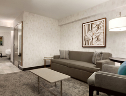 designONE Studio influenced by Washington D.C.'s history and architecture for Hilton Garden Inn Washington D.C. Downtown guestroom renovation.