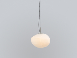 Gèmo gives a nod to both the shape and texture of the blown-glass shade of this stylized lamp by Lucas Nichetto for Nichetto Studio.