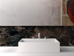 Named Sublime, the sink has a geometric basin in either countertop of vanity mounts.