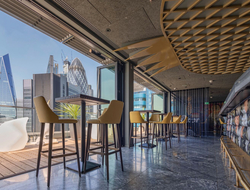 Dexter Moren Associates influenced by Asian-inspired modern design for Jin Bow Law Skybar in Dorsett City Hotel.