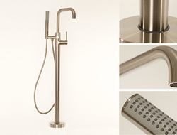 "Reaching 36 ½"" spout height from the floor, the East Square tub filler comes complete with an integrated hand shower."