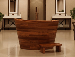 Handcrafted of American Walnut, True Ofuro has an integrated seat that creates an ergonomic position for bathers.
