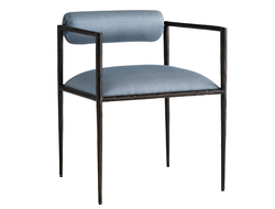 Upholstered in juniper silk or ocelot embroidery, the Barbana chair has a slim frame with a tight seat and bolster back.