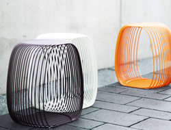 Crafted of solid powder-coated steel, the stool can add a pop color to any contract setting.