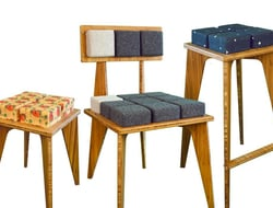 The materials used in Reforest Design's furniture consist of sustainably manufactured pressed bamboo and upholstery.