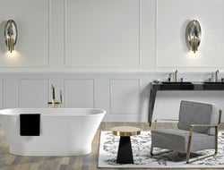 The collection makes use of Grand Antique d' Aubert marble, which is considered the most precious French marble.