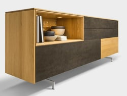The Filigno sideboard has soft-close drawers, push-front doors, an end-grained edgeband, and 12mm-thick, three-layer top board.