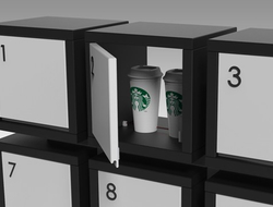 A solution to simplify consumers' food takeout experience, the Tyme TakeTech modular cubbies is compatible with the Tyme app.