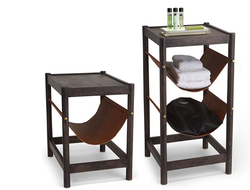 The tables were constructed using leather and wood, which are signature materials of Paradigm Trends.