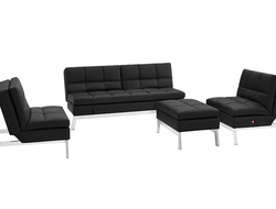 Gjemeni's mid-century-modern-inspired couch has four USB ports and two 110-volt sockets as part of the furniture.
