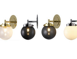 The new Mini Globe wall light integrates the same Art Deco cues within its metal fixtures and features a compact glass globe, hand-blown in Original BTC's Birmingham-based factory.