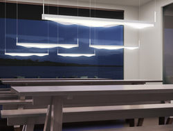 Wave Bar has undulating waves of translucent acrylic profiles flowing in a complex rising and falling of alternating layers.