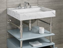 The Elemental collection is available as a single or double vanity with a choice of two integrated stone sinks.
