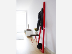 Pendura coat stand is made of solid oak, each coat stand has six notches on the front and two on the back, allowing for multiple hanging options.