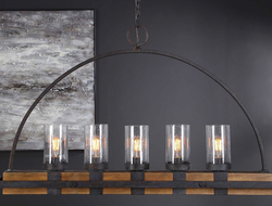 Introducing Atwood by Uttermost, a suspended lighting fixture that features five lights.