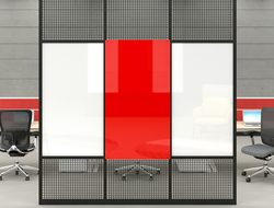 Intersection panels can accommodate glassboards, porcelain steel marker or chalk boards, ACOUSTICOR acoustic felt panels, tack surfaces, mesh and perforated steel.