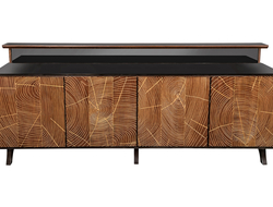 With gold leaf rubbed into the uneven grain of the wood,  #8726 has a striking metallic look.
