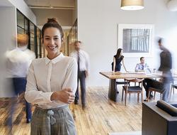 female woman Millennial office employee