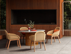 """Vimini means """"wicker"""" in Italian, which is abundantly used in the new collection that includes a sofa in two sizes, a chair, a center table and a side table."""