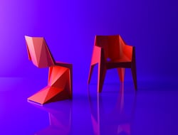 Voxel chair relies on injection molding to get its signature shape. Meanwhile, the Voxel armchair – which is also faceted – is stackable.