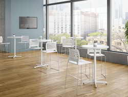 There are three heights available (counter, bar and desk); three distinct back styles (small perforations, larger holes and full upholstery); and six color options.