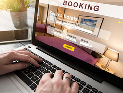 computer screen on a hotel booking website