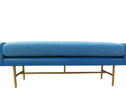 Product #8634 is a custom, upholstered bench with semi-attached seat cushion available in Caribbean blue.