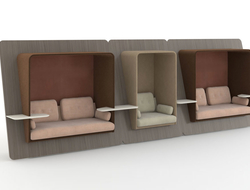 Available in single and double seat units, LeanTo is outfitted to feel like it was built into any space.