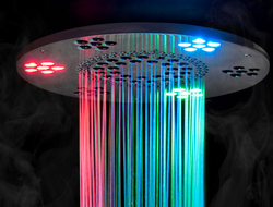The Serenity light, sound and rainhead delivers mood lighting with chromatherapy, as well as sound therapy, and a gentle falling water sensation.