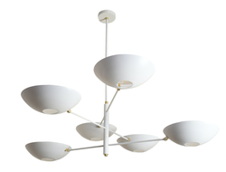 All arms of this chandelier are articulated with approximately a 320-degree horizontal rotation.