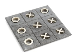 Tic Tac Toe consists of six Xs and Os pieces, which can move around the game board, made of grey marble.