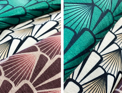The Deco pattern is bold in character and can fit into a variety of color palettes, with three colorways available.