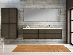 The collection comes in a range of color and finish options and is distinguished by streamlined matte black metal frames for a clean, architectural style.