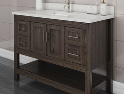 With the same rustic look and feel as reclaimed wood, the new finish is available for all Strasser bath vanity styles.