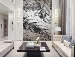 Twine, a bold arrangement of tangled rope, is a mural that creates a modern textural focal piece.