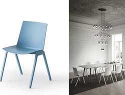 Joule is a Techno polymer chair with a co-injected metal frame. It is also stackable up to eight chairs high.