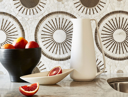 Tangent offers 15 different mosaic patterns in marble of varying colors, veining and brightness.