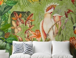 Designed by illustrator Andrea Haase, the wallpapers feature vintage-style maps underneath intricately illustrated jungle scenes.