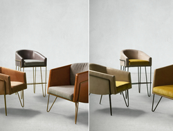 Dutch East Design paired with Jamie Stern Furniture, Carpet & Leather to create the Float collection. The collaborative collection consists of soft, rounded chairs and barstools.