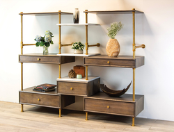 A modular storage solution, the etagere is a customizable combination of open shelving and closed storage in a range of materials.