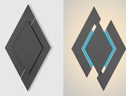 The Apex wall sconce visually creates movement due its geometric nature.
