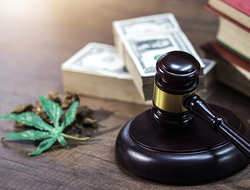 A gavel and cannabis leaf