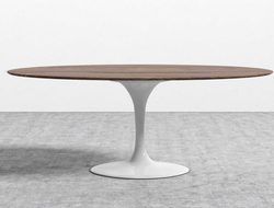 The single pedestal base of the table is made from cast aluminum to support a heavy top while eliminating the unnecessary clutter of legs underneath.