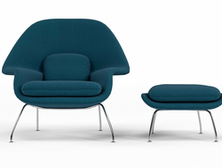 "Introducing the Womb chair and ottoman, created after Florence Knoll requested Eero Saarinen to design a chair that was ""like a basket full of pillows."""