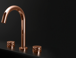 Nerea has a low, disc-like style. Each handle features one of four decorative designs — vertical lines, horizontal rings, subtle knurled detailing or a more prominent diamond pattern.