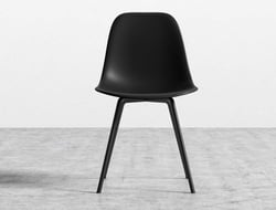 The Emilia's simple silhouette and slender steel legs bring an uncomplicated yet elegant feel to a space, making it suitable for the office or the dining room.