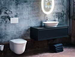 The New Classic range encompasses washstands, washbasin bowls, toilets, a bidet and bathtub, faucets, mirrors and accessories, as well as furniture.