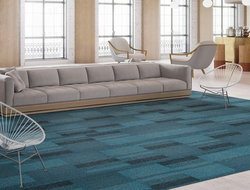 Braided modular carpet and Meshwork LVT is a new mixed material collaboration from designer Suzanne Tick.
