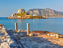 Island Kastri and ruins on Kos, Greece