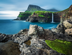 Faroe Islands Gasadalur waterfall